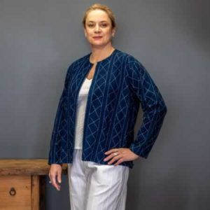 Jacket - indigo with white kantha stitch
