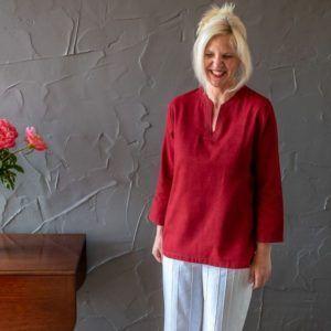Amrita shirt - red cotton