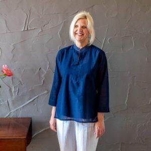 Molly kurta - navy blue mangalgiri cotton